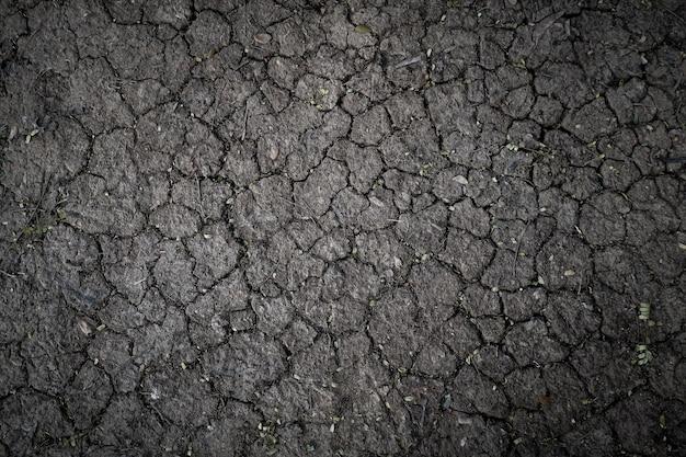 Texture de terre asséchée par la sécheresse, le sol se fissure à l'arrière-plan avec grunge