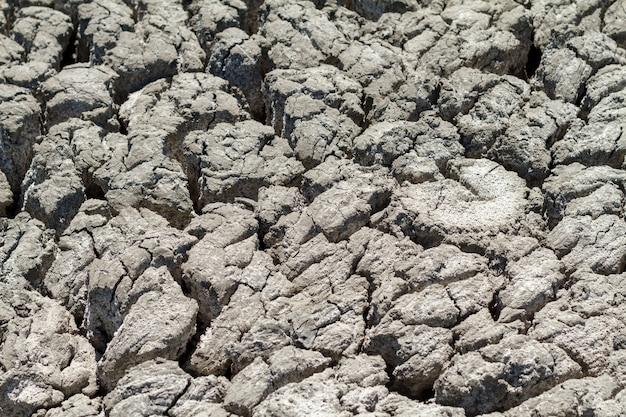 Texture de terre fissurée en saison sèche.