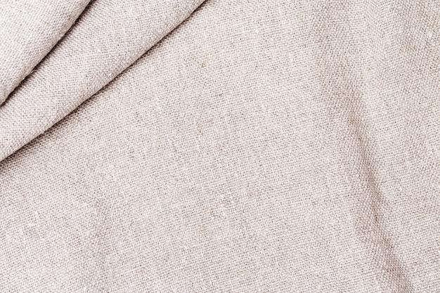 Texture de tissu de coton naturel gros plan de tissu grossier