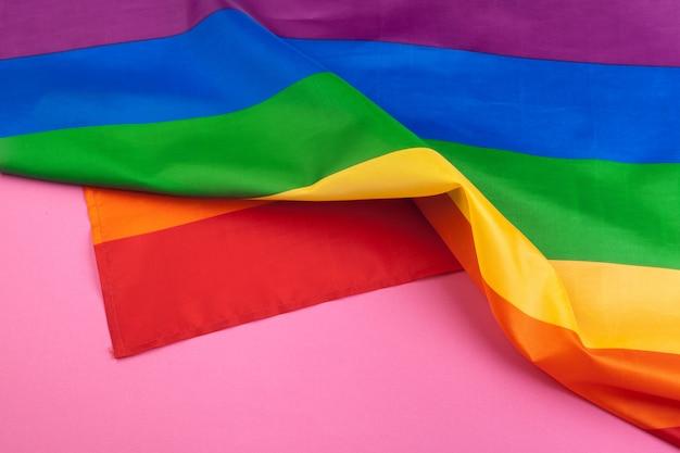 Texture de tissu de drapeau arc-en-ciel gay bouchent