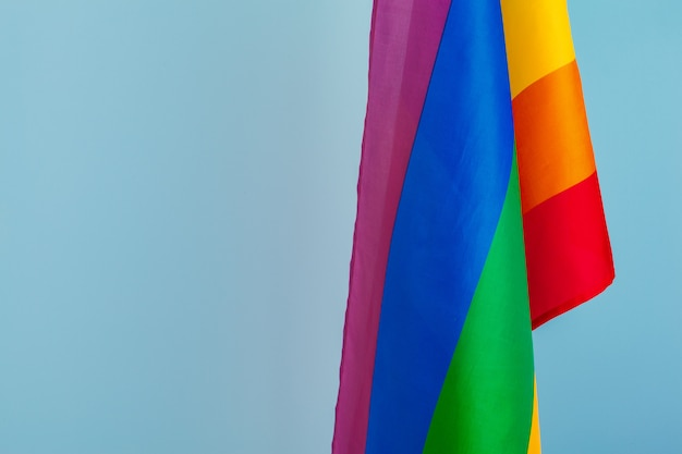 Texture de tissu du drapeau arc-en-ciel gay se bouchent
