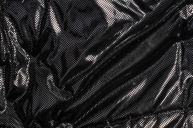 Texture de tissu gris noir métallisé à pois argent