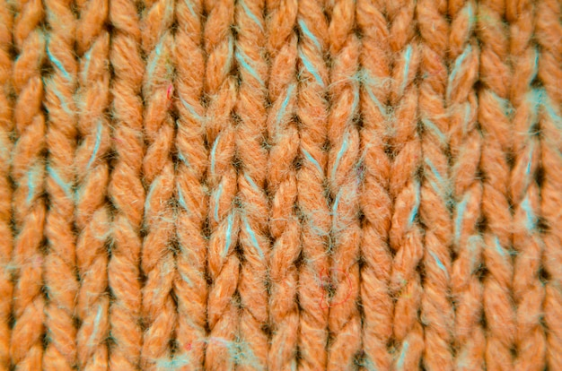 Texture en tricot orange gros plan