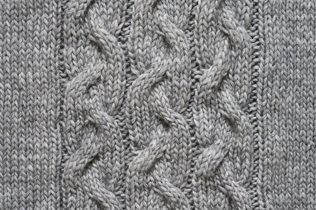 Texture tricotée grise. tricots faits à la main. fond