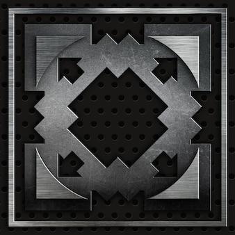 Des textures métalliques abstraites sur un fond métallique perforé