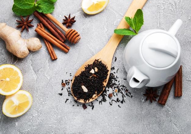 Thé au citron, menthe, cannelle et gingembre