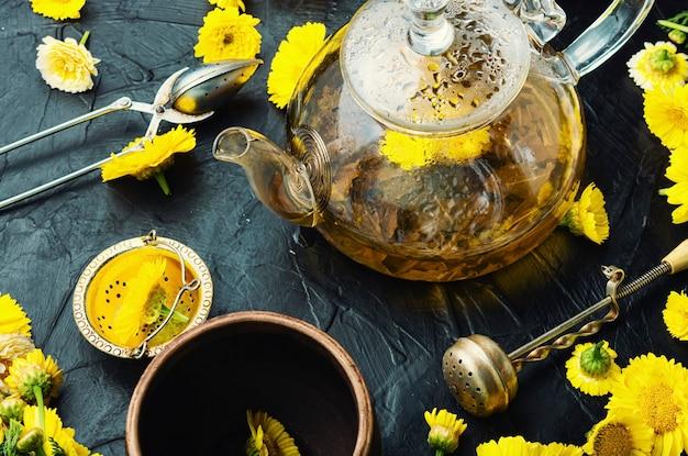 Thé aux fleurs de guérison. théière avec thé aux fleurs de chrysanthème. phytothérapie. tisane, infusion de thé