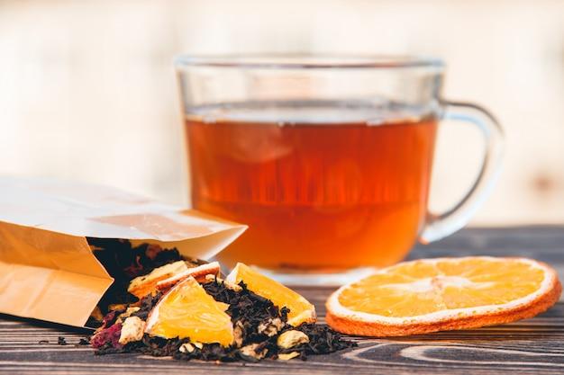 Thé en bois fond sec. soins de santé, aliments et boissons