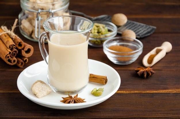 Thé chaud au lait, cannelle, cardamome, anis et autres épices