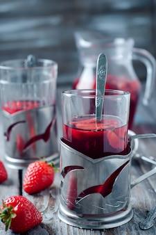 Thé frais à la fraise
