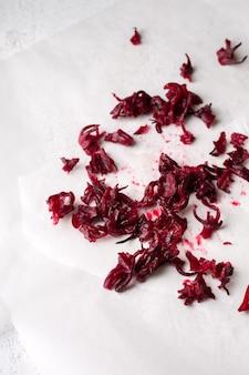 Thé d'hibiscus, déchets organiques