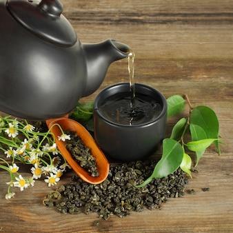 Thé - tasse, théière, feuilles vertes