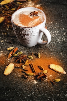 Thé traditionnel indien masala chai aux épices - cannelle, cardamome, anis