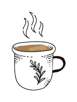 Thé vert boisson chaude en mug isolé sur fond blanc