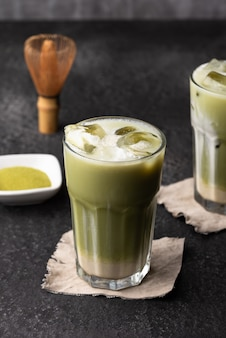 Thé vert glacé au lait
