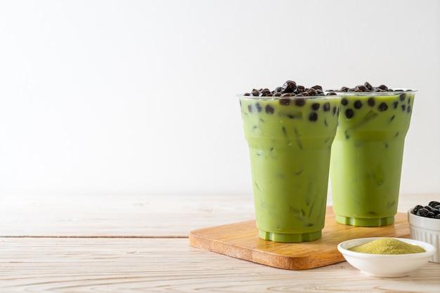 Thé Vert Latte Avec Bulle Photo Premium