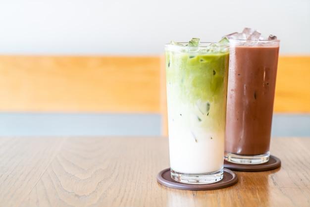 Thé vert matcha glacé au lait et chocolat glacé