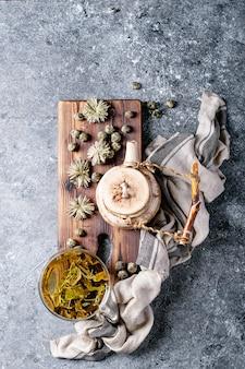 Thé vert avec théière en céramique