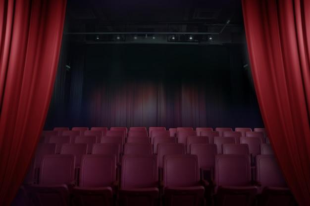 Théâtre de rideau ouvert avant le showtime