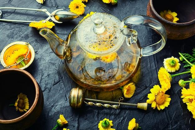 Théière avec thé aux fleurs fraîches, phytothérapie