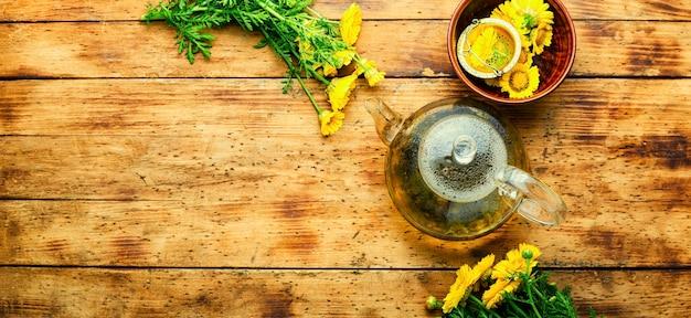 Théière en verre avec thé aux fleurs, espace pour le texte