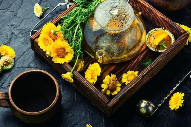 Théière en verre avec thé aux fleurs, herboristerie