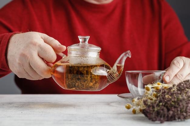 Théière en verre versant du thé noir dans une tasse