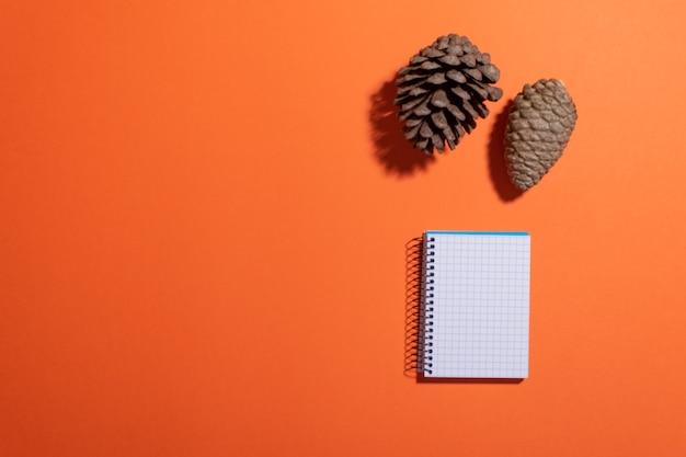 Thème d'automne avec bloc-notes vierge, pommes de pin et espace de copie de couleur unie sur le côté gauche
