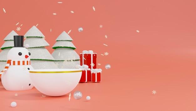 Thème De Bonhomme De Neige De Rendu 3d Joyeux Noël Et Bonne Année. Photo Premium