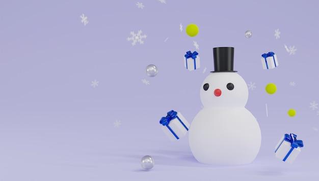 Thème de bonhomme de neige de rendu 3d joyeux noël et bonne année.