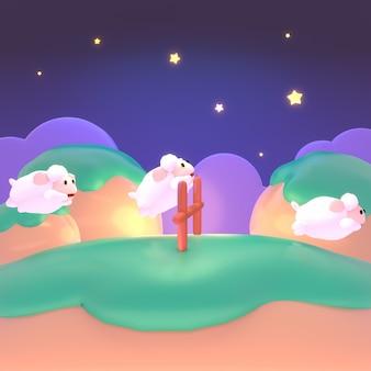 Thème de comptage de moutons cartoon moutons mignons sautant par-dessus la clôture dans la nuit 3d rendu