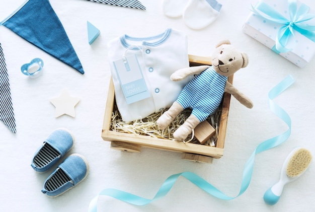 Thème de la douche de bébé bleu
