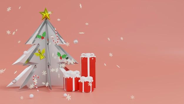 Thème Du Podium De Rendu 3d Joyeux Noël Et Bonne Année. Photo Premium