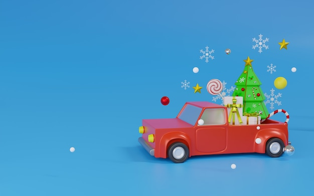 Thème minimal de voiture rouge de rendu 3d joyeux noël