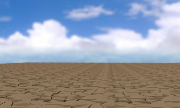Thème réchauffement planétaire et la pollution avec des terres fissurées, un tracé de détourage, le rendu 3d