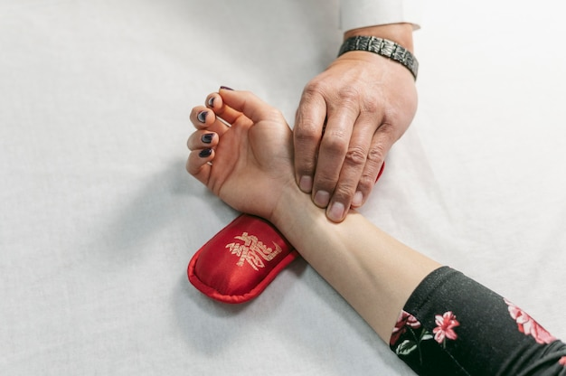 Thérapie de main vue de dessus