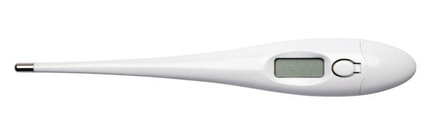 Thermomètre numérique électronique isolé sur fond blanc.