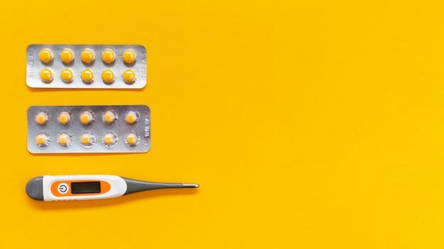 Thermomètre et pilules