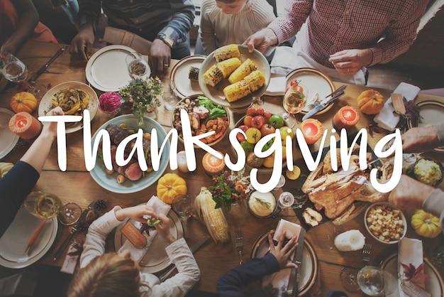 Thnaksgiving bénédiction célébrant le concept de repas reconnaissant