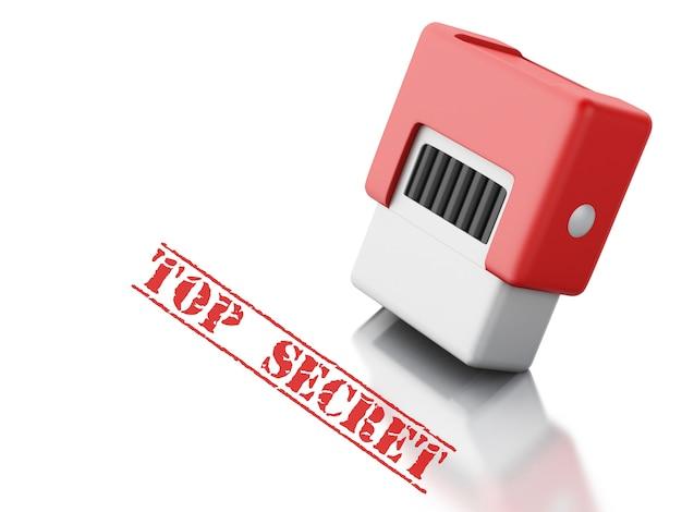 Timbre 3d avec le mot top secret.