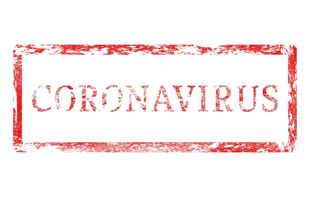 Timbre rouge avec inscription coronavirus isolé sur fond blanc