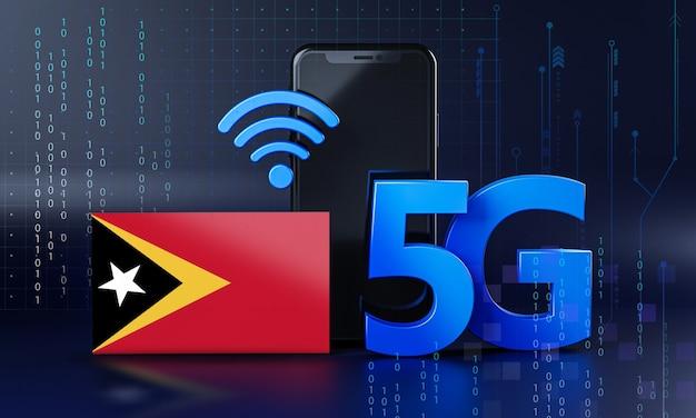 Timor oriental prêt pour le concept de connexion 5g. fond de technologie smartphone de rendu 3d