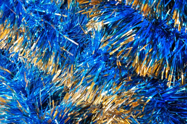 Tinsel brillant bleu, fond de noël, texture