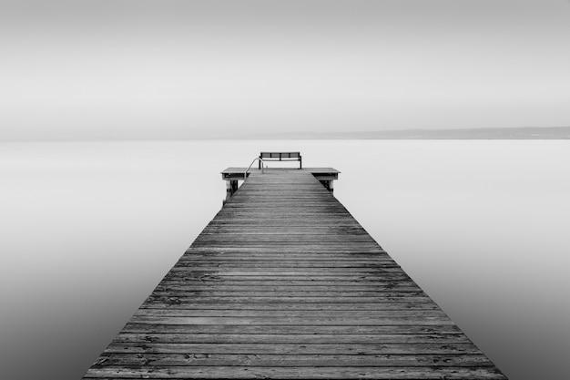 Tir en niveaux de gris d'un chien en bois près de la mer avec un fond brumeux
