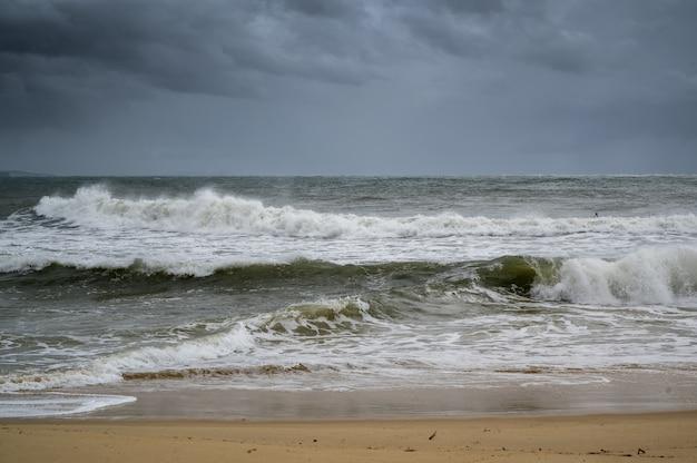Tir de la plage et des vagues de la sunshine coast du queensland, australie