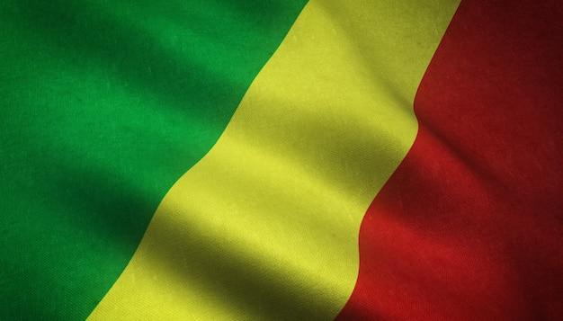 Tir réaliste du drapeau ondulant du mali avec des textures intéressantes