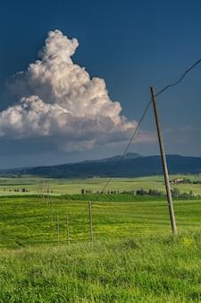 Tir vertical d'un champ vert avec des poteaux électriques à val d'orcia toscane, italie
