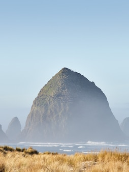Tir vertical du haystack rock dans le brouillard du matin à cannon beach, oregon