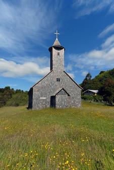 Tir vertical d'une église dans un champ herbeux sous un ciel bleu