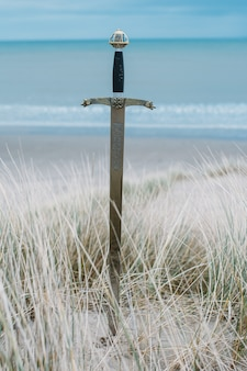 Tir vertical d'une épée sur la plage pendant la journée